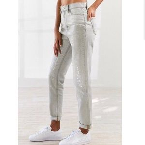 Urban Outfitters Sequin Front High Rise Mom Jean